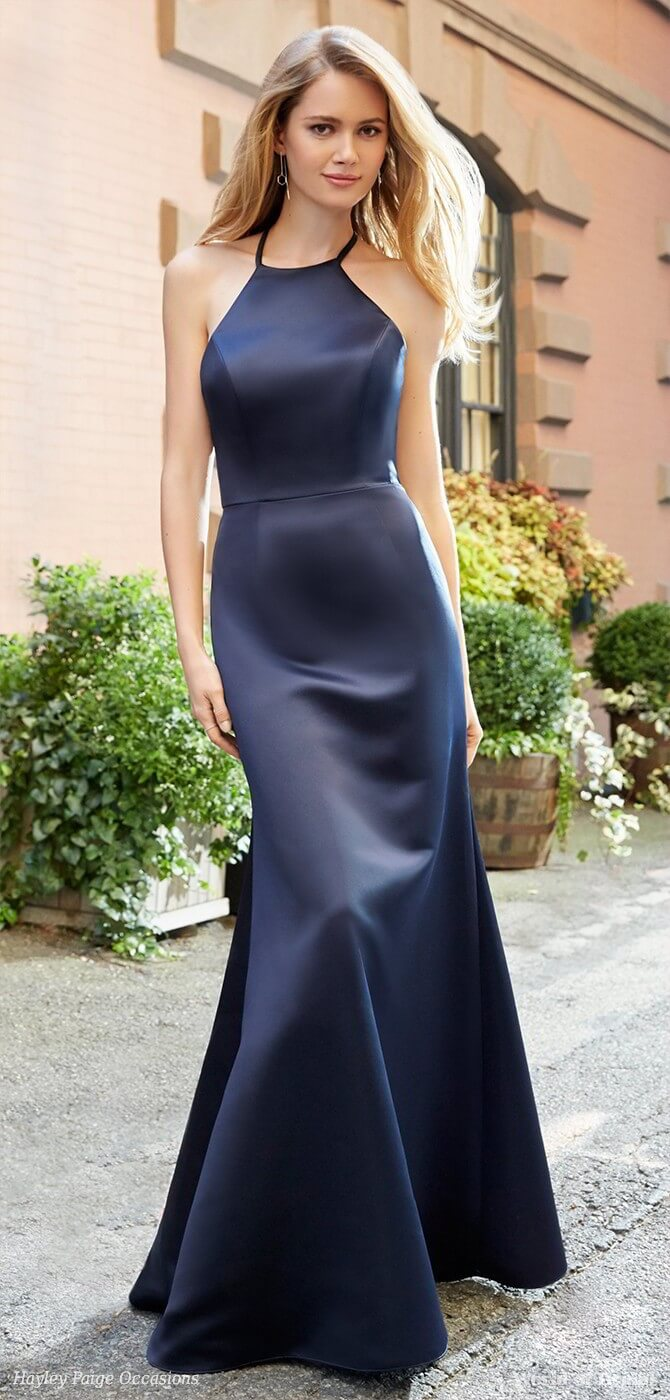 Hayley Paige Occasions Spring 2018 Indigo satin A-line bridesmaid gown
