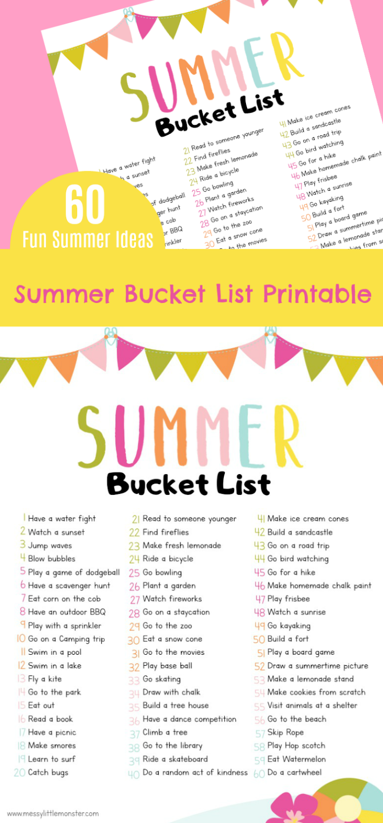 Printable summer bucket list for kids. 60 fun summer activity ideas for kids