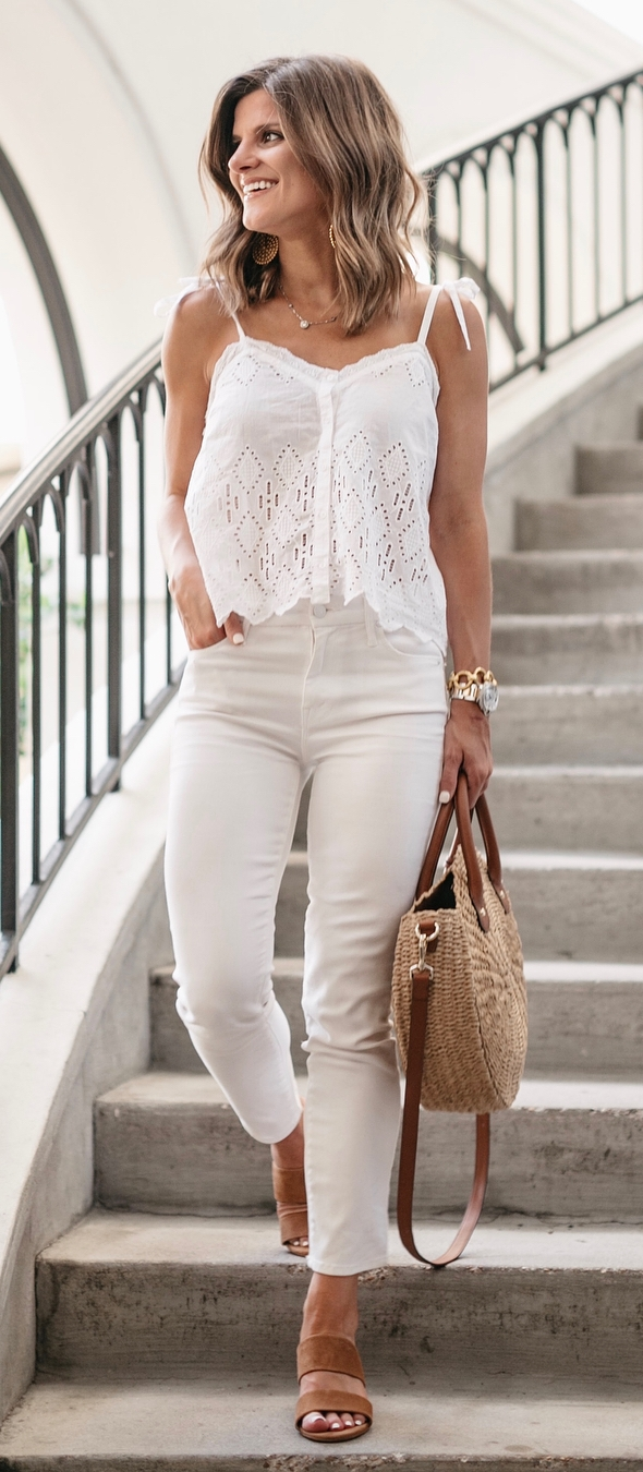 casual outfit inspiration / white lace top + pants + round bag + brown heels