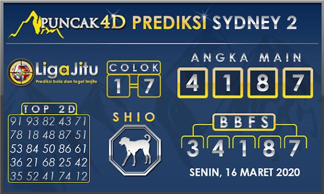 PREDIKSI TOGEL SYDNEY2 PUNCAK4D 16 MARET 2020