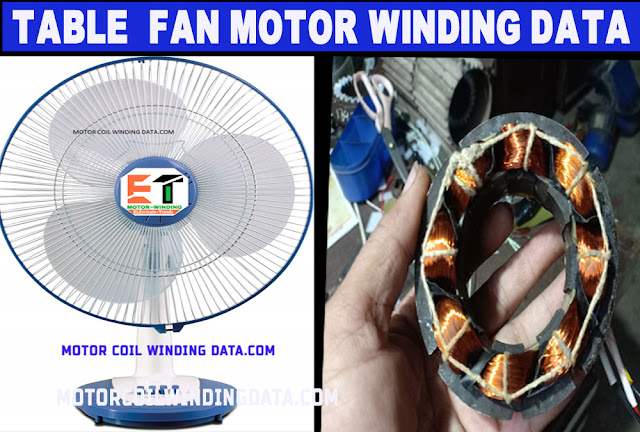 Table fan motor winding data by electrical trendz