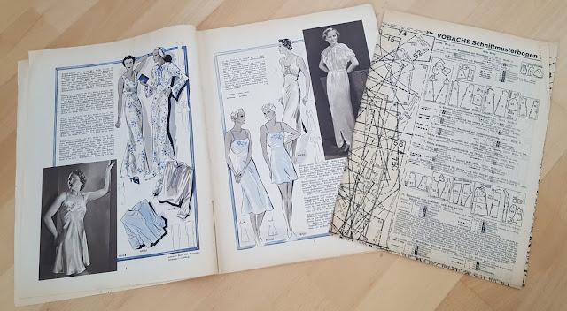 vintage sewing pattern magazine schnittmuster zeitung retro Illustrierte Wäsche und Handarbeits Zeitung, 1920s, 20s, 30s, 1930s