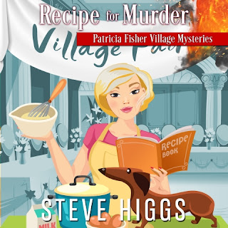 Blonde woman in an apron stands in a festival hall with her dachshund. She is holding a mixing bowl and a recipe book. Recipe for Murder. Patricia Fisher Mysteries. Steve Higgs. Narrated by Maryanne M. Wells.