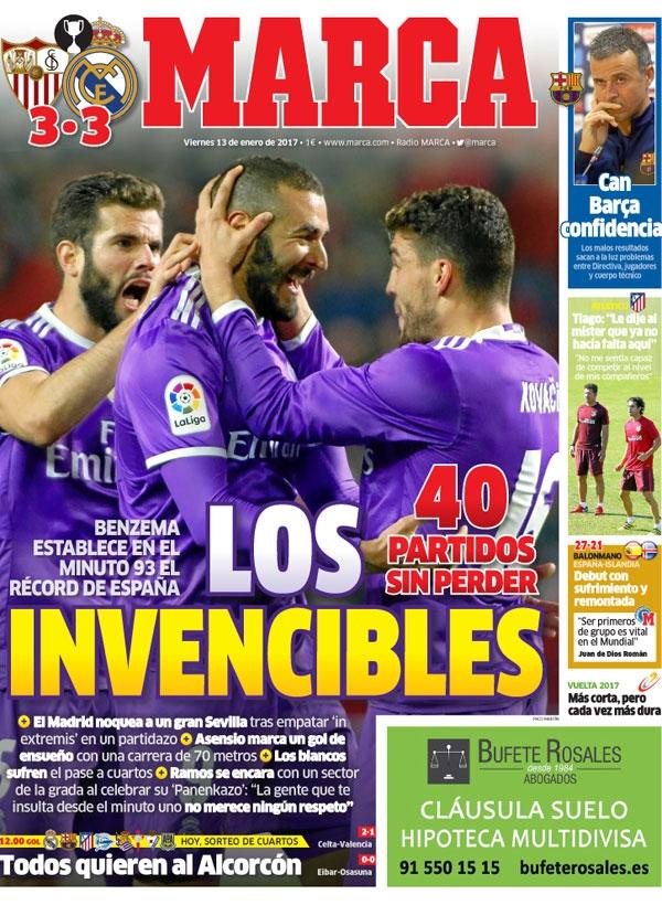 Real madrid tv sevilla 3 3 real madrid portadas de marca for Madrid sevilla marca