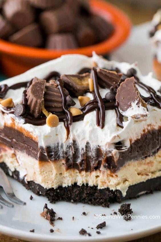 Chocolate Peanut Butter Lasagna #Choco #Cake #chococake #chocolaterecipe #Bestcake #Dessert #Italiandessert #Americandessert #Canadadessert #Bestcanadadessert
