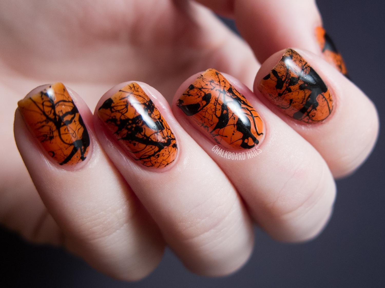 spooky splatter nails tutorial chalkboard nails. Black Bedroom Furniture Sets. Home Design Ideas