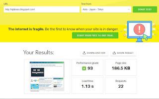 cara tes kecepatan blog