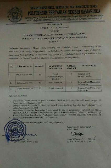 lowongan dosen, cpns dosen, politeknik pertanian, politeknik negeri samarinda, september 2017