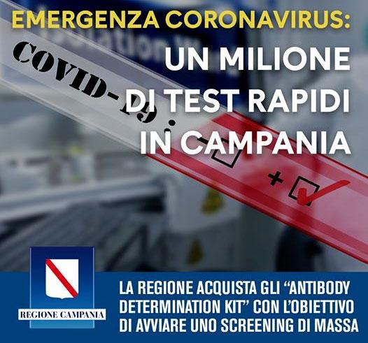 Test rapido per coronavirus in Campania