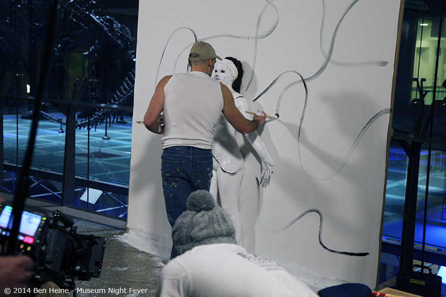 Ben Heine Flesh and Acrylic performance with model Sandra Rassios at Brussels Science Museum for the Museum Night Fever 2014