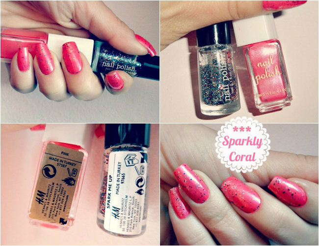 coral nails with glitter top coat, summer nail ideas