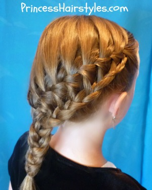 stacked waterfall braid side ponytail