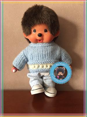 Pull ajouré bleu et blanc pour Kiki ou Monchhichi - tricot -fait main - handmade - lainage - vêtement