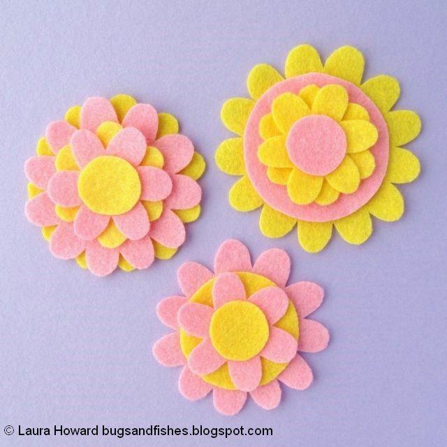 Felt Flower Brooches Tutorial: layer the felt pieces