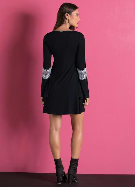 Moda Vestido Mangas Sino com Detalhe de Renda Preto