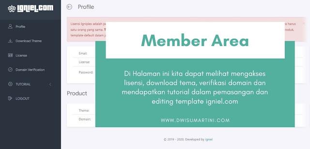 Member area dalam memasang template blog