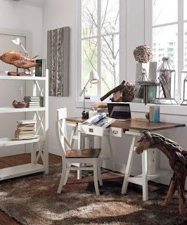 mesa y sillas despacho blanca