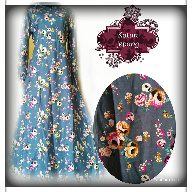 gamis katun jepang warna elegan motif bunga