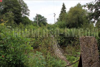 Налибокская пуща. Висячий мост через реку Ислочь