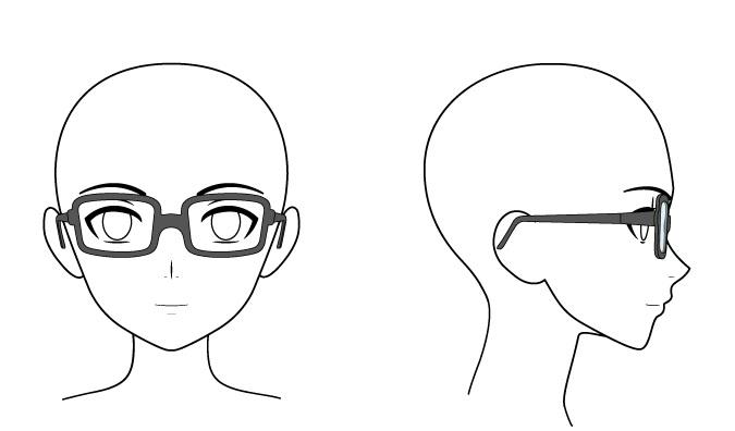 Kacamata anime di kepala