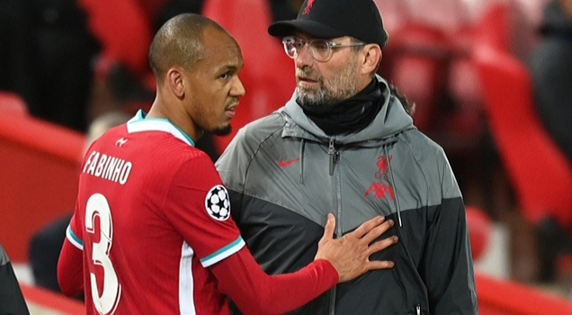 Fabinho injured against Midtjylland in the Champions League.