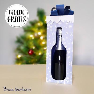 molde para mini garrafa espumante - champagne - bruna gambarini - arquivo de corte silhouette - pdf - gratis
