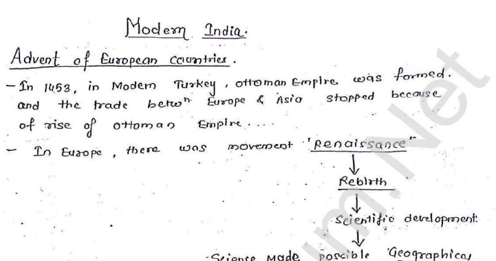 Modern History Handwritten Notes in English PDF Download