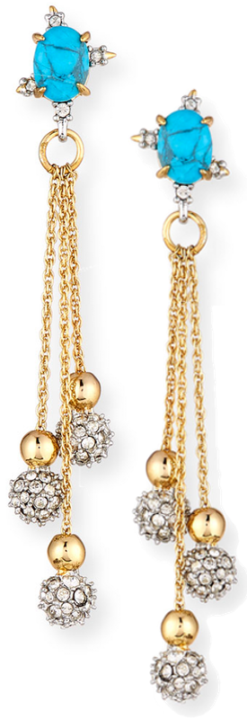 ALEXIS BITTAR Crystal Encrusted Dangling Sphere Post Earring