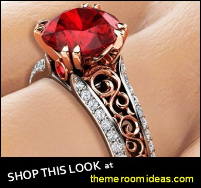 Ruby Engagement Ring 14K Two Tone Gold Ring Unique Art Deco Engagement Ring womens dress rings
