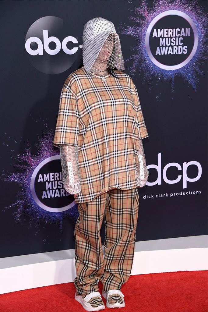 Billie Eilish Hit the AMA Red Carpet in Head to Toe Burberry Complete With Sparkly Headgear