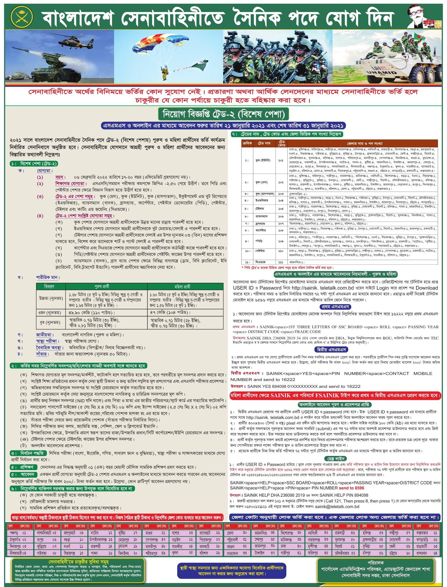 Bangladesh Army Sainik Job Circular 2021,  Senabahini New Circular 2021, Sainik Job Circular 2021
