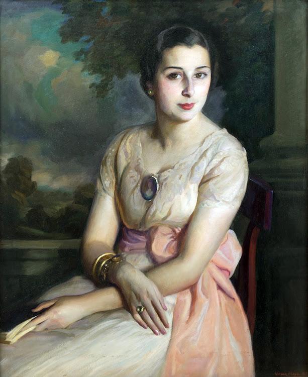 Retrato de dama con vestido rosa, Victor Moya Calvo, Pintor español, Pintores Valencianos, Retratos de Victor Moya Calvo, Pintores españoles, Victor Moya