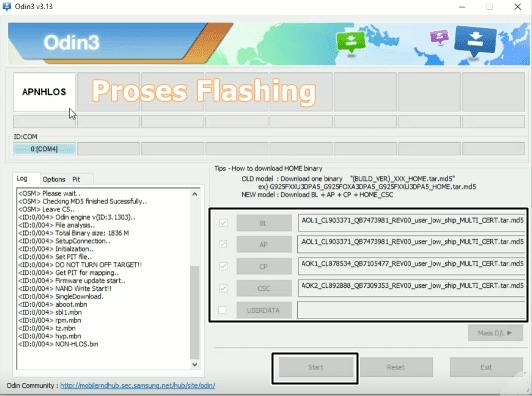 menambahkan file binary samsung a72