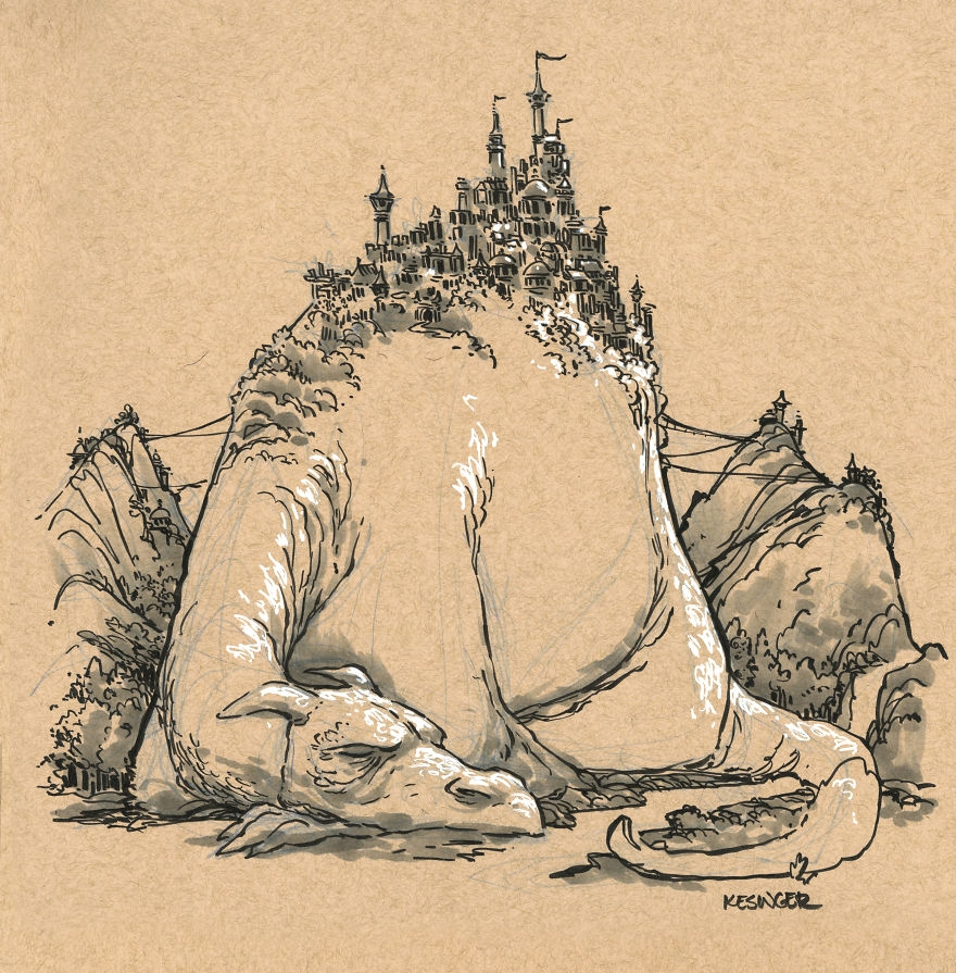 07-Garnyx-the-Behemoth-Brian-Kesinger-Drawings-that-Show-the-Kinder-Side-of-Dragons-www-designstack-co