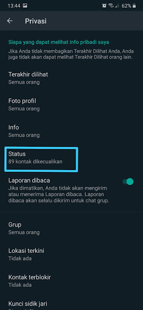 Cara Menyembunyikan Status Whatsapp 7