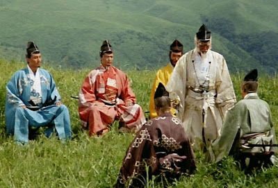 The Hunting Party, The Royal Feast, Outing, Lord Hidetora and Sons, Tatsuya Nakadai, in Oscar winning Japanese war epic Ran, Directed by Akira Kurosawa
