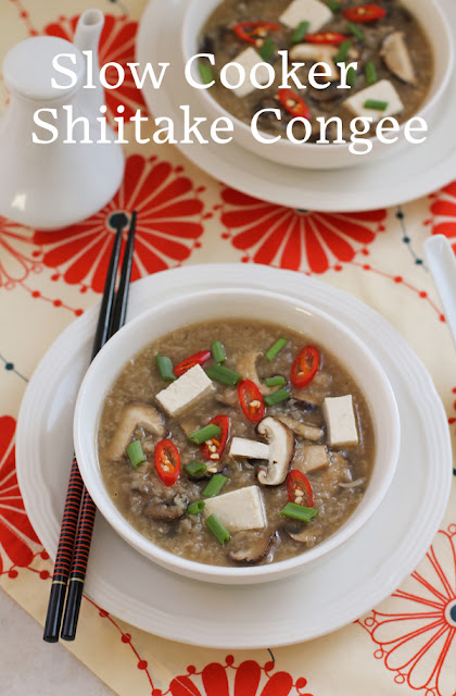 Food Lust People Love: Slow cooker shiitake congee is a warming bowl of comfort, made with lots of savory, flavorful mushrooms and your favorite rice. Top it with your favorite add ons.