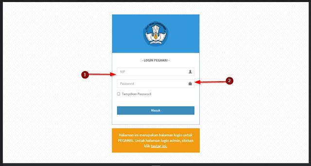 halaman login pegawai di skp sdm kemdikbud