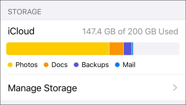 """مساحة iCloud المتاحة ضمن """"التخزين"""" على iPhone."""