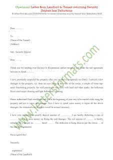 sample letter from landlord to tenant regarding security deposit