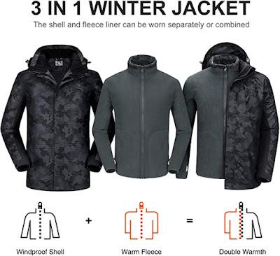 Waterproof Ski Jacket for Men 3 in 1