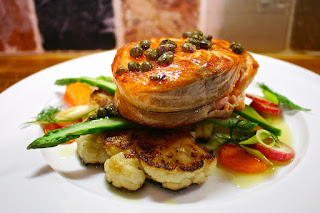 Medallion of Salmon over Cauliflower Steak