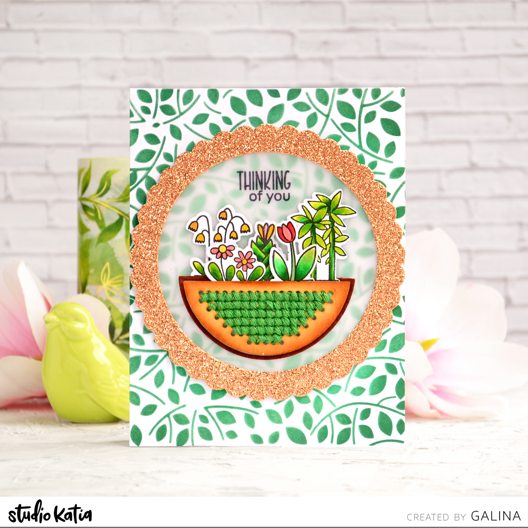 studio katia, POTTED PLANTS, FANCY SCALLOP CIRCLE DIES, AUTUMN LEAVES STENCIL, Card making, papercraft, handmade, diecutting, copic coloring, ink blending