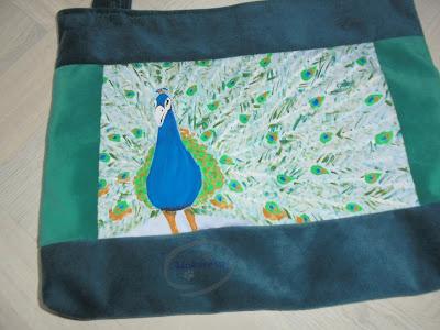 materiałowa eko torba damska ptak ręcznie malowana