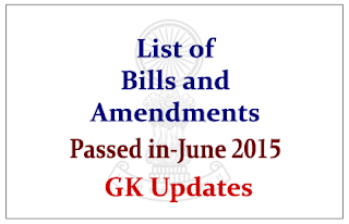List of Bills and Amendments that Passed in June 2015