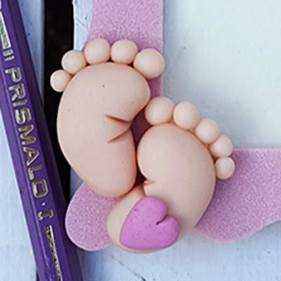 Portafoto fimo bimbo piedini  bomboniera