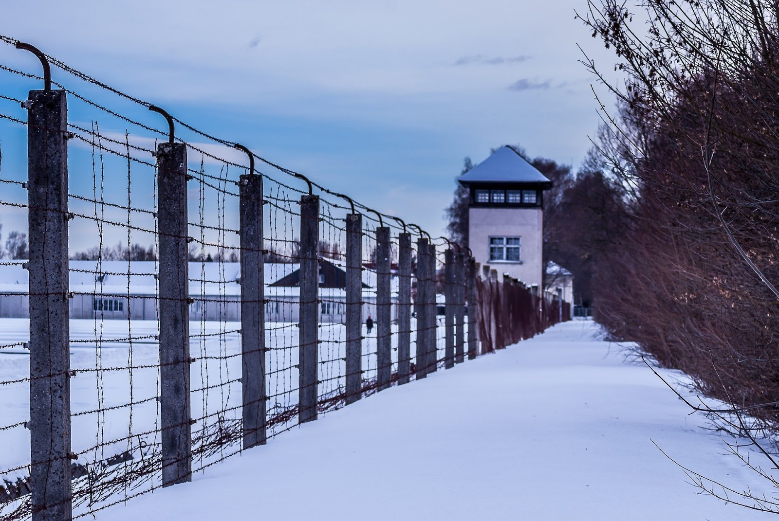 a long prison fence diseccts a large snowy prison field to illustrate a blog post about war crimes