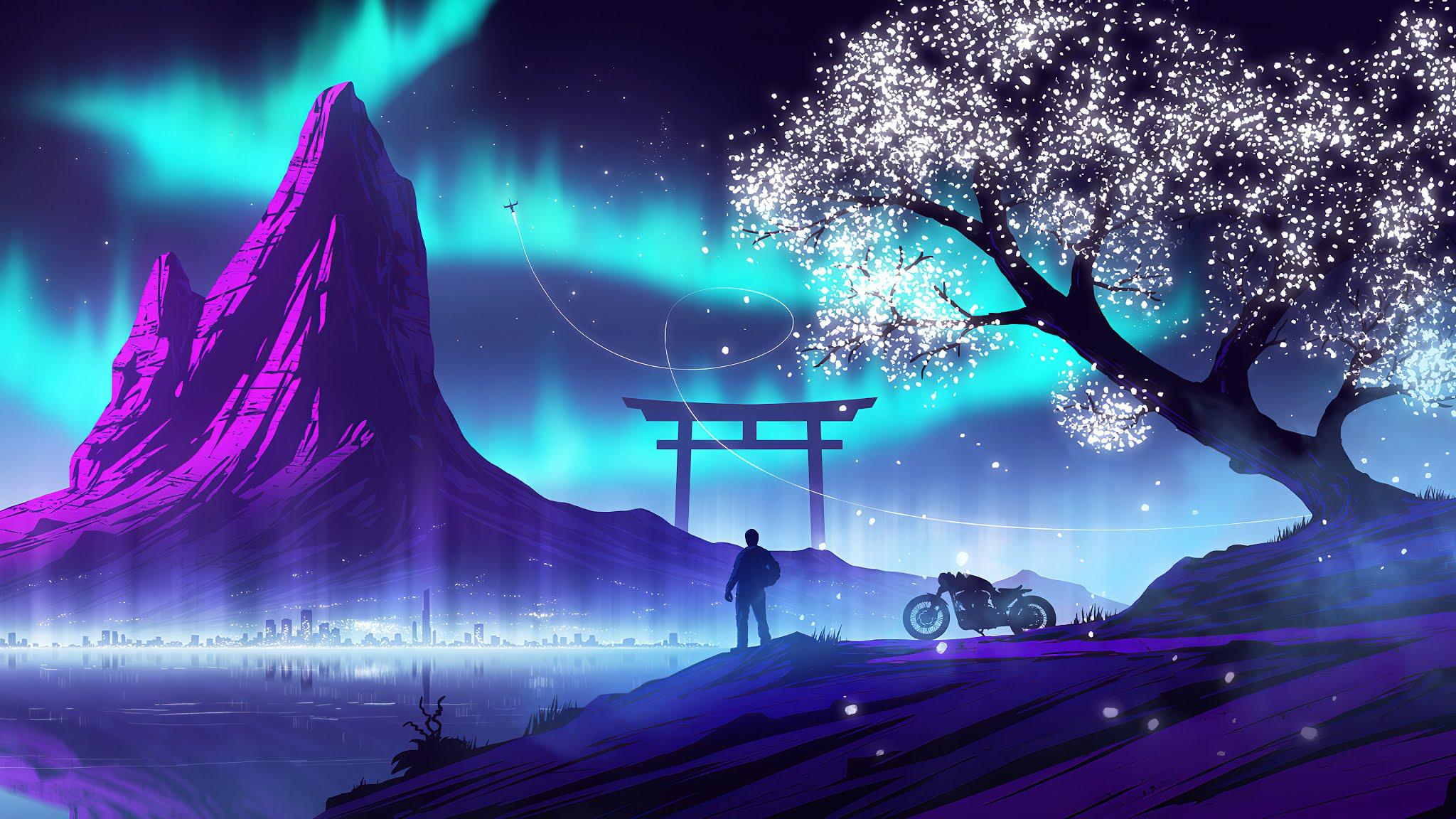 Biker Synthwave, Artwork, Digital Art, Hd, 4k