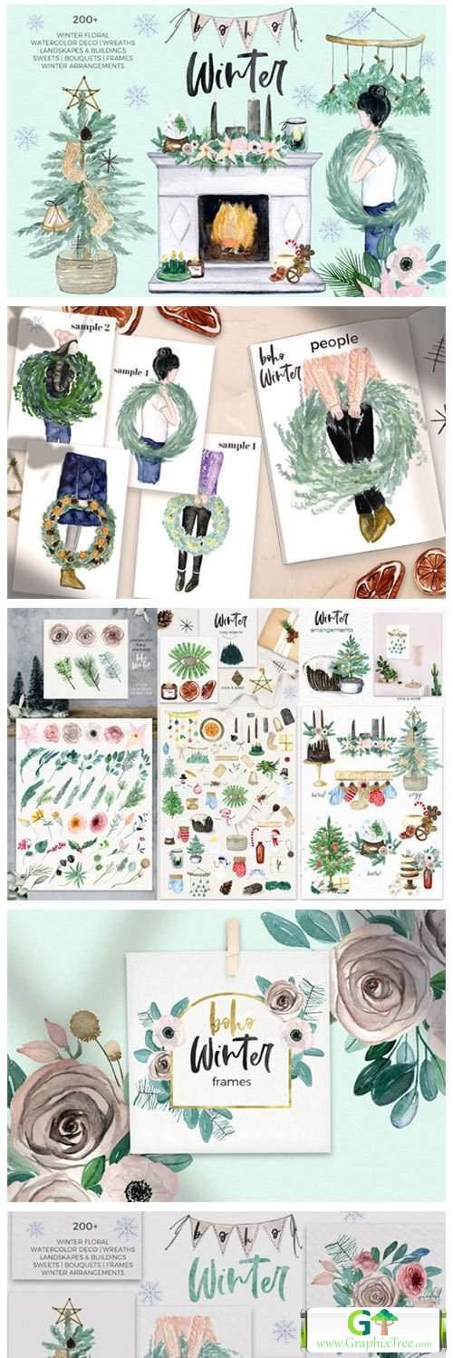 Boho Winter & Christmas Watercolors [Vector] [Holiday & Party]