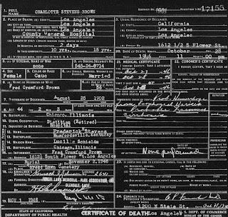 Charlotte Stevens Death Certificate